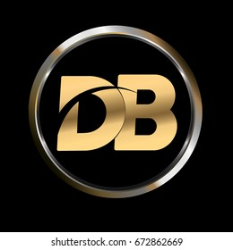 db initial letter logo inside circle shape, db inside o rounded lowercase logo gold silver