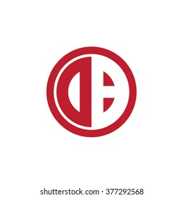 DB initial letters circle business logo red