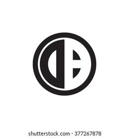 DB initial letters circle monogram logo