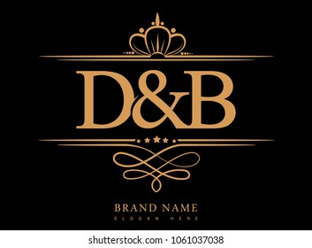D&B Initial logo, Ampersand initial logo gold with crown and classic pattern