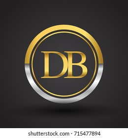 DB Letter logo in a circle, gold and silver colored. Vector design template elements for your business or company identity.