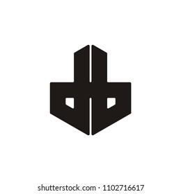 db linked letter hexagon vector logo