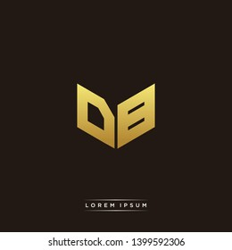 DB Logo Letter Initial Logo Designs Templete with Gold and Black Background