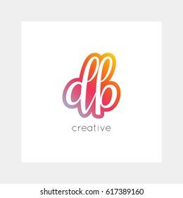 DB logo, vector. Useful as branding symbol, app icon, alphabet element, clip-art.