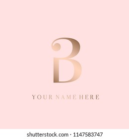 DB monogram logo.Capital golden letter B isolated on rose color background.Elegant, luxury style vector icon.