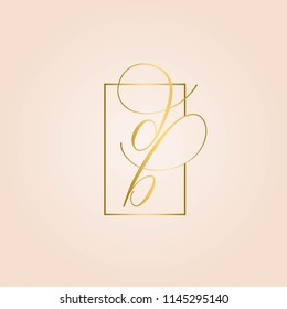 DB monogram logo.Shiny golden calligraphic letter based icon isolated on rose color background.Script letters b and d in a frame.