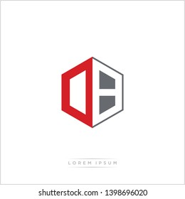 DB / OB Logo Initial Monogram Negative Space Design Template With Orange and Grey Color - Vector EPS 10