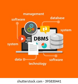dbms database management system concept computer data symbol vector illustration concept
