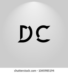 DC Abstract Black Letters with white and gray background in highlight