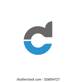 dc, cd initial overlapping rounded letter logo