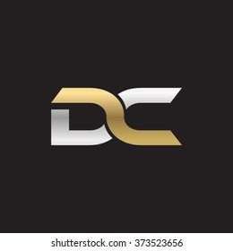 DC company linked letter logo golden silver black background