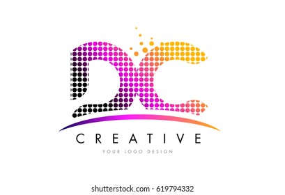 DC D C Dots Letter Logo Design with Magenta Bubble Circles and Swoosh