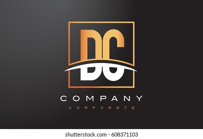 DC D C Golden Letter Logo Design with Swoosh and Rectangle Square Box Vector Design.