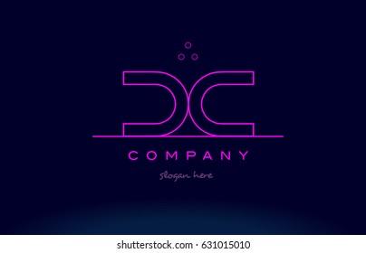 dc d c letter alphabet text pink purple dots contour line creative company logo vector icon design template