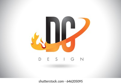 DC D C Letter Logo Design with Fire Flames and Orange Swoosh Vector Illustration.