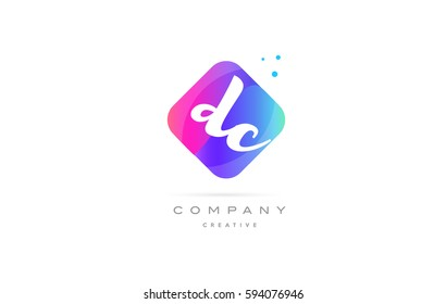 dc d c  pink blue rhombus abstract 3d alphabet company letter text logo hand writting written design vector icon template