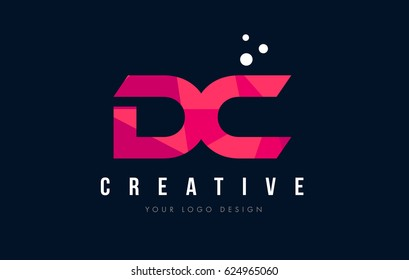 DC D C Purple Letter Logo Design with Low Poly Pink Triangles Concept