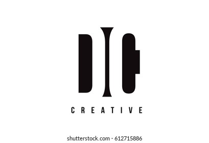 DC D C White Letter Logo Design with Black Square Vector Illustration Template.
