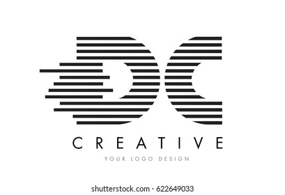 DC D C Zebra Letter Logo Design with Black and White Stripes Vector