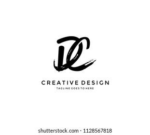 DC Grunge Brush Letter Logo Design
