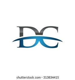 DC initial company blue swoosh logo