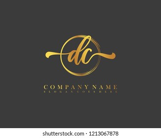 DC initial handwriting logo circle template vector