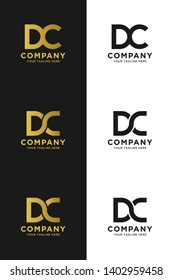 DC initial letter elegant logo template in gold color, vector file .eps 10, text and color is easy to edit