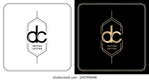 DC initial letter and graphic name, DC Monogram model with hexagonal frames, for Wedding couple name, with two color variation designs gold and monochrome with isolated black white background