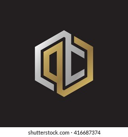 DC initial letters loop linked hexagon elegant logo golden silver black background