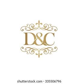 D&C Initial logo. Ornament ampersand monogram golden logo