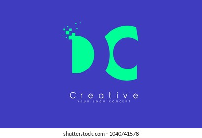 DC Letter Logo Design With Negative Space Concept in Blue and Green Colors Vector