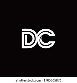 DC monogram logo with abstract line design template