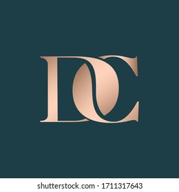 DC monogram logo. Letter d and letter c typographic icon.Intertwined lettering sign.Alphabet initials isolated on dark background.Modern,elegant,luxury style serif characters for company branding.