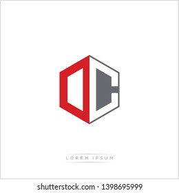 DC / OC Logo Initial Monogram Negative Space Design Template With Orange and Grey Color - Vector EPS 10