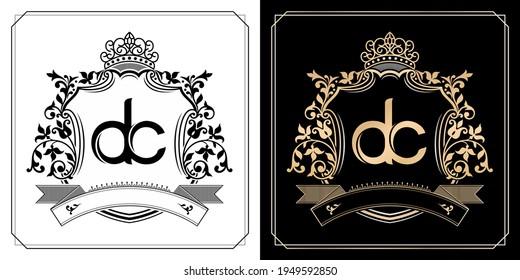 DC royal emblem with crown, initial letter and graphic name Frames Border of floral designs with two variation colors, set of gold framed labels with flowers for insignia, initial letter wedding name