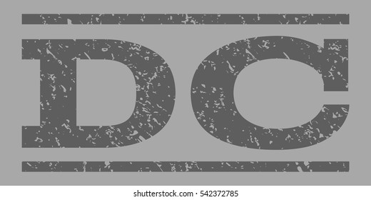 DC watermark stamp. Text tag between horizontal parallel lines with grunge design style. Rubber seal stamp with unclean texture. Vector dark gray color ink imprint on a silver background.