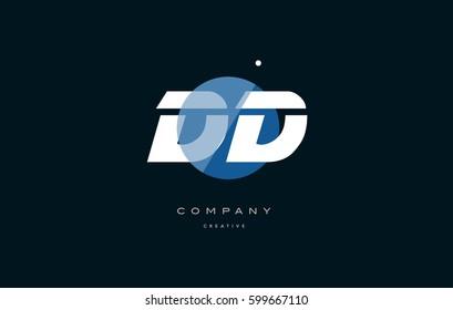 dd d d  blue circle dot big font alphabet company letter logo white design vector icon template