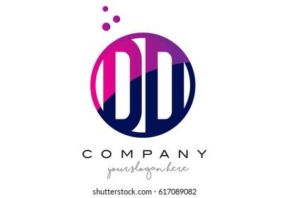 DD D D Circle Letter Logo Design with Purple Magenta Dots Bubbles Vector Illustration