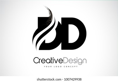 DD D D Creative Modern Black Letters Logo Design with Brush Swoosh