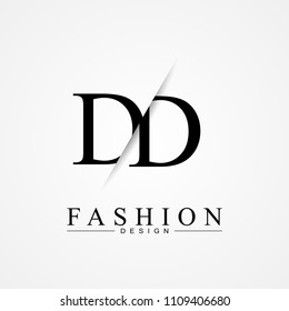 DD D D cutting and linked letter logo icon with paper cut in the middle. Creative monogram logo design. Fashion icon design template.