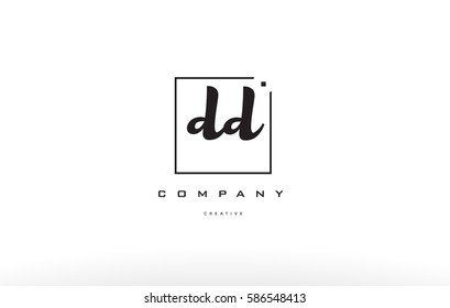 dd d d hand writing written black white alphabet company letter logo square background small lowercase design creative vector icon template