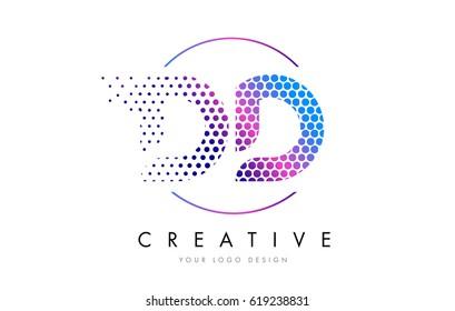 DD D D Pink Magenta Dotted Bubble Letter Logo Design. Dots Lettering Vector Illustration