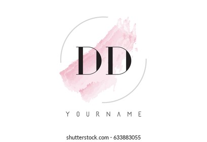 DD D D Watercolor Letter Logo Design with Circular Shape and Pastel Pink Brush.