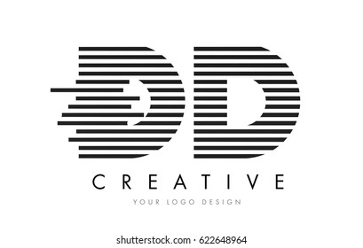 DD D D Zebra Letter Logo Design with Black and White Stripes Vector