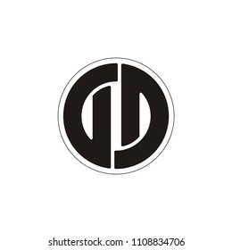 DD or double D letter circle vector logo