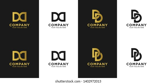 DD initial letter elegant logo template in gold color, vector file .eps 10, text and color is easy to edit