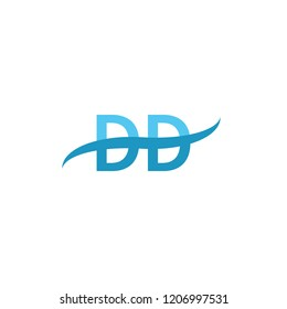 DD Initial letter, overlapping movement swoosh logo,blue sea color isolated on white background