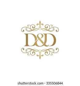 D&D Initial logo. Ornament ampersand monogram golden logo