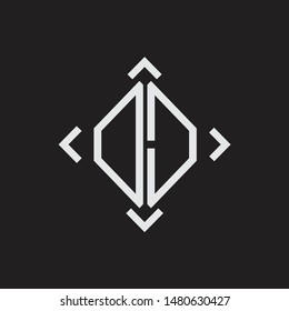 DD Logo Abstrac letter Monogram with Arrow in every side isolated on black background