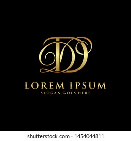 DD logo initial with Golden Luxury Colors on black background, logo - vecto r- template.